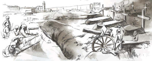 The fighting in the trenches - Hand drawn vector illustration