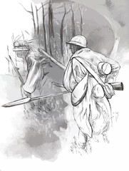 Soldier with a rifle in the woods - Hand drawn vector