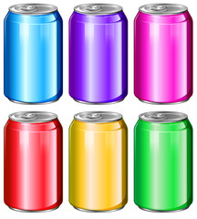 Colourful soda cans