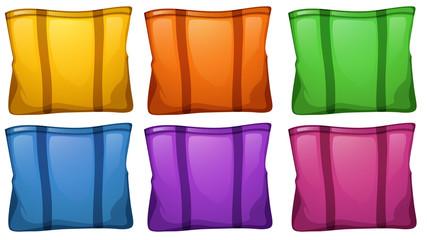 Six colorful food bags