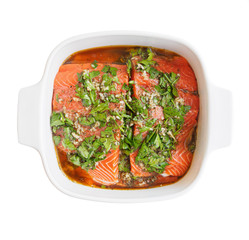 Salmon fillet marinated