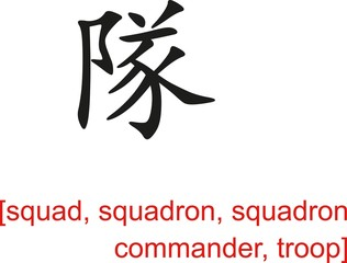 Chinese Sign for squad, squadron, squadron commander, troop