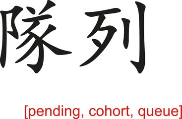Chinese Sign for pending, cohort, queue