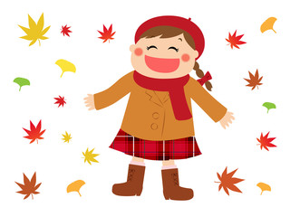 A happy girl in autumn leaves, autumn image