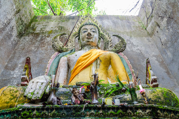 Old Buddha statue in somdej temple, Sangkhla Buri, Thailand