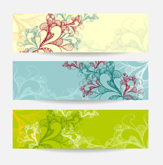 Set abstract doodle banners yellow blue green