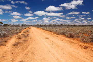 A lonely track in Australian outback on the Nullarbor Plain