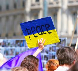 Peace sign on the ukrainian flag