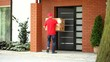 Courier delivering package to home film