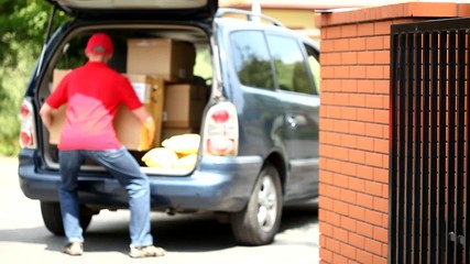 Courier and car full of packages movie