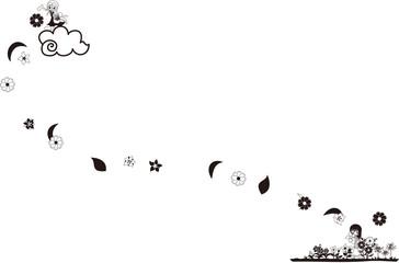 一人の少女が雲の上から花を散らし、もう一人の少女がその花を愛でる。