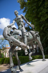 Four horsemen of the Apocalypse statue during the summer, Bruges