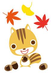 秋 リスとドングリ