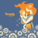 Beautiful mother silhouette with baby in a sling and floral back