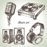 Fototapety Music set. Hand drawn illustrations of Dj icons