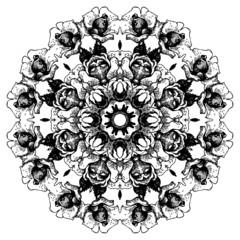 Vintage decorative lace round pattern. Floral ornament