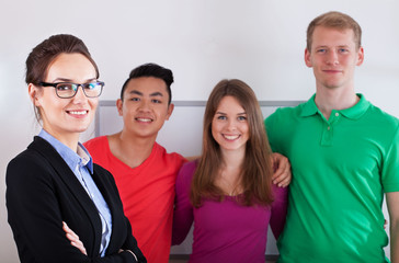 Teacher with her multi-ethnic students