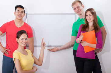 Students showing empty whiteboard