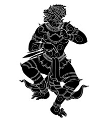 hanuman silhouetted on white background