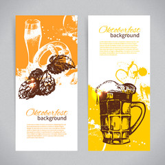 Banners of Oktoberfest beer design. Hand drawn illustrations.