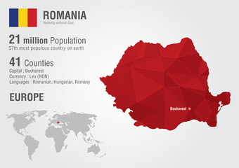 Romania world map with a pixel diamond texture.