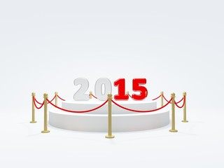 2015 New Year symbol on podium