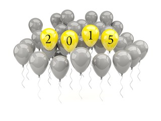 Yellow air balloons with 2015 New Year sign