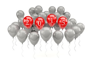 Red air balloons with 2015 New Year sign
