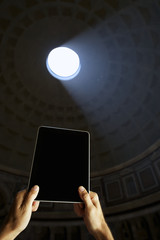 Digital Tablet Computer at Pantheon Rome Italy