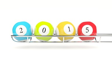 2015 lottery balls isolated on white