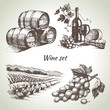Hand drawn vector wine set - 68704353