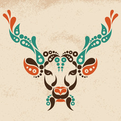 Deer tattoo, symbol decoration illustration.