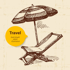 Vintage travel background with beach armchair and umbrella.