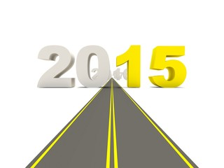 2015 New Year sign on the road