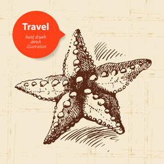 Vintage travel background with starfish. Hand drawn illustration