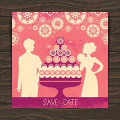 Wedding invitation card. Vintage illustration with newlyweds