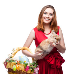 cheerful easter  woman  with rabbit