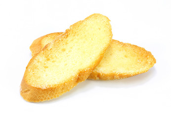 bread slice toasts on white background