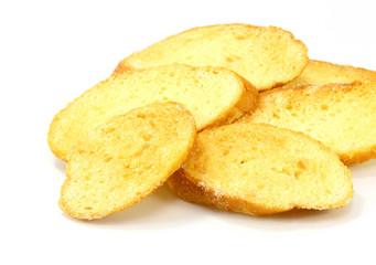 bread slice toasts on white background