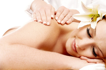 Young woman getting spa massage
