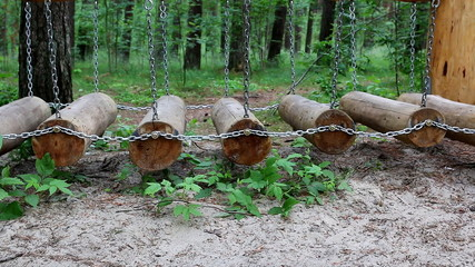 Side view of an obstacle course in the forest