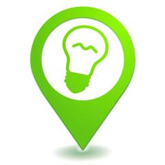 ampoule sur symbole localisation vert