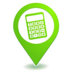 calculatrice calculette sur symbole localisation vert