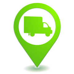 camion utilitaire sur symbole localisation vert