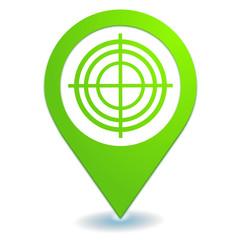 cible sur symbole localisation vert