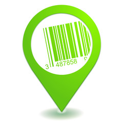 code-barres sur symbole localisation vert