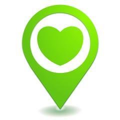 coeur sur symbole localisation vert