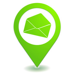courrier enveloppe sur symbole localisation vert
