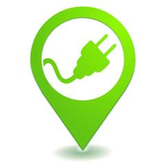prise électrique sur symbole localisation vert
