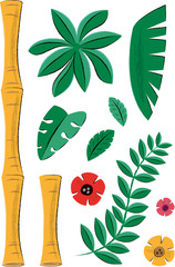 Tropical Plants and Bamboo Elements